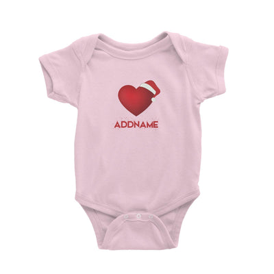 Red Heart Shape with Santa Hat Addname Baby Romper Christmas Matching Family Love Personalizable Designs