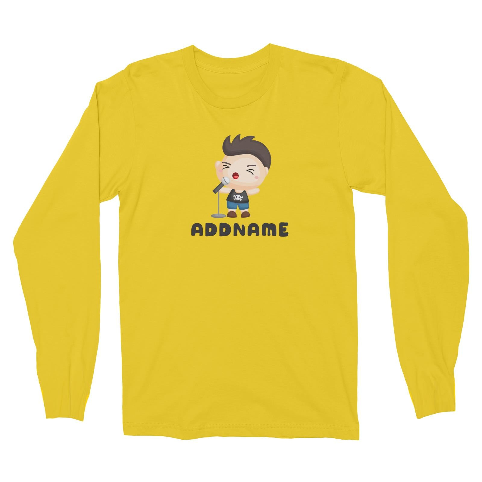 Birthday Music Band Boy Singing Mic Addname Long Sleeve Unisex T-Shirt