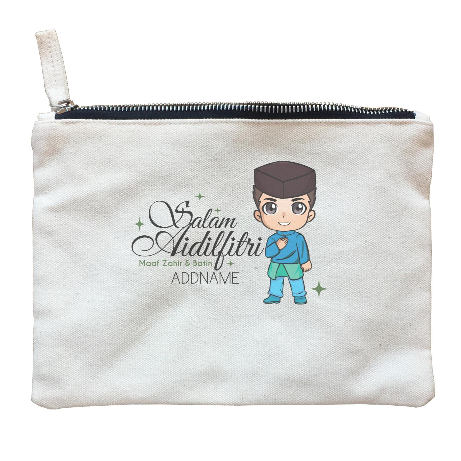 Raya Chibi Wishes Man Addname Wishes Everyone Salam Aidilfitri Maaf Zahir & Batin Zipper Pouch