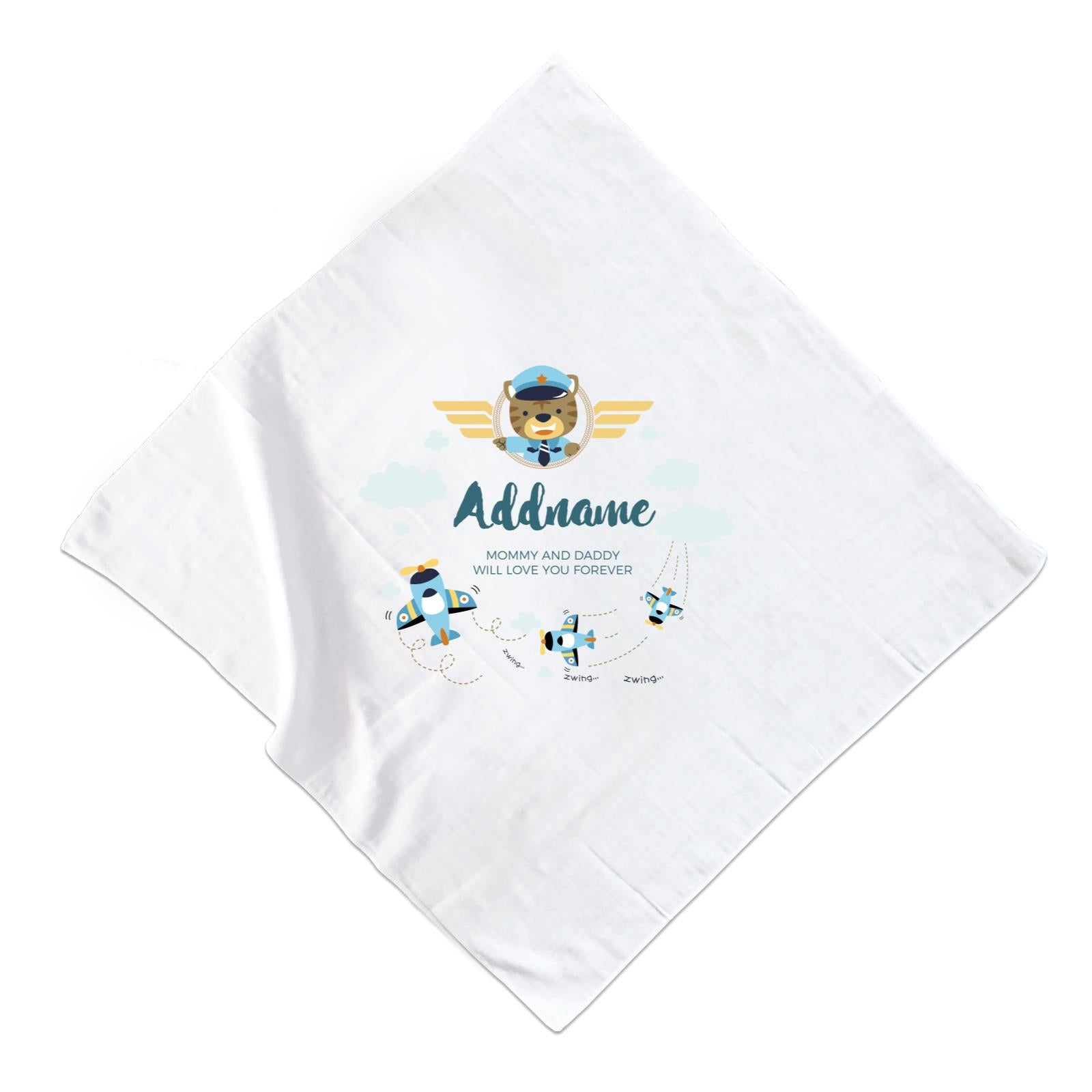 Cute Bear Pilot and Blue Planes Flying Personalizable with Name and Text Muslin Square
