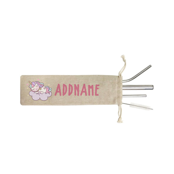 Unicorn And Princess Series Cute Pastel Sleeping Unicorn On a Cloud Addname SB 4-In-1 Stainless Steel Straw Set in Satchel