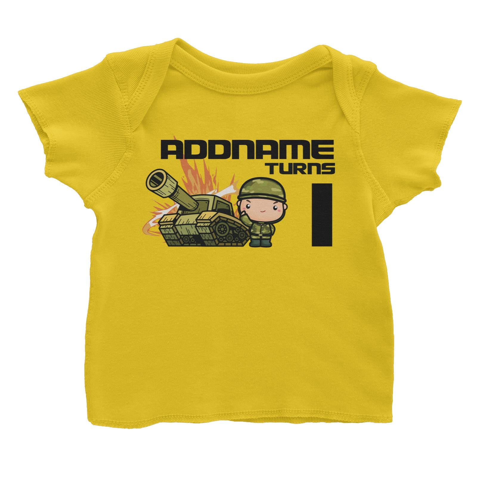 Birthday Battle Theme Tank And Army Soldier Boy Addname Turns 1 Baby T-Shirt