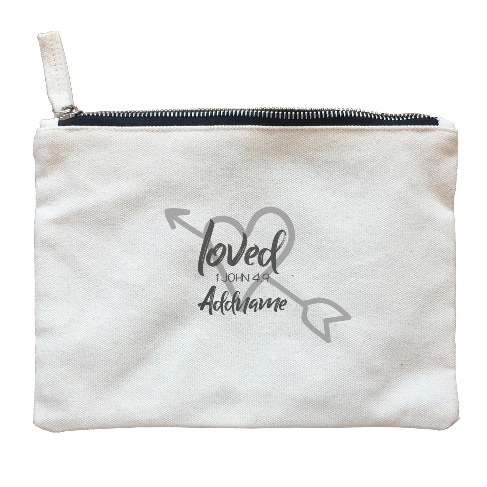 Loved Family Loved With Heart And Arrow 1 John 4.9 Addname Accessories Zipper Pouch