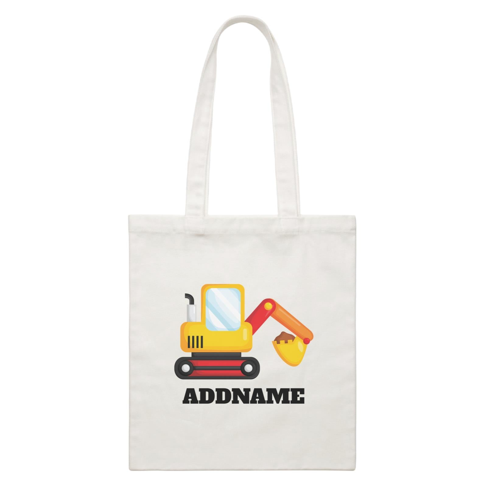 Birthday Construction Excavator Addname White Canvas Bag