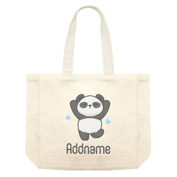 Cute Hand Drawn Style Panda Jumps with Joy Addname Shopping Bag