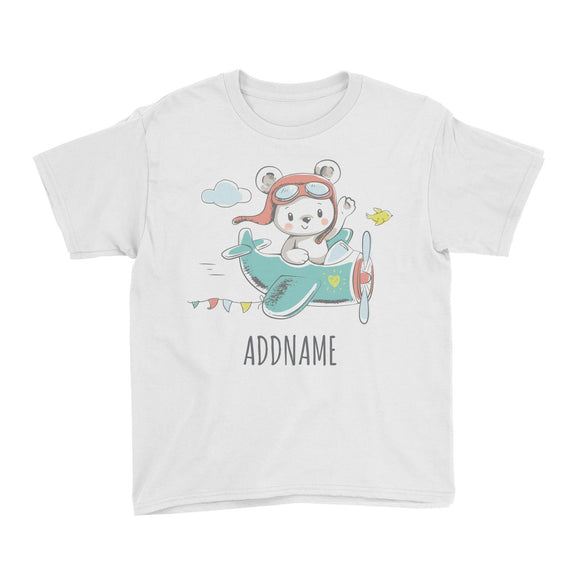 Pilot Bear on Plane White Kid's T-Shirt Personalizable Designs Cute Sweet Animal For Boys Occupation HG