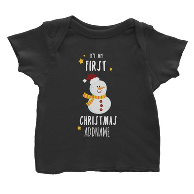 Cute Snowman First Christmas Addname Baby T-Shirt  Personalizable Designs
