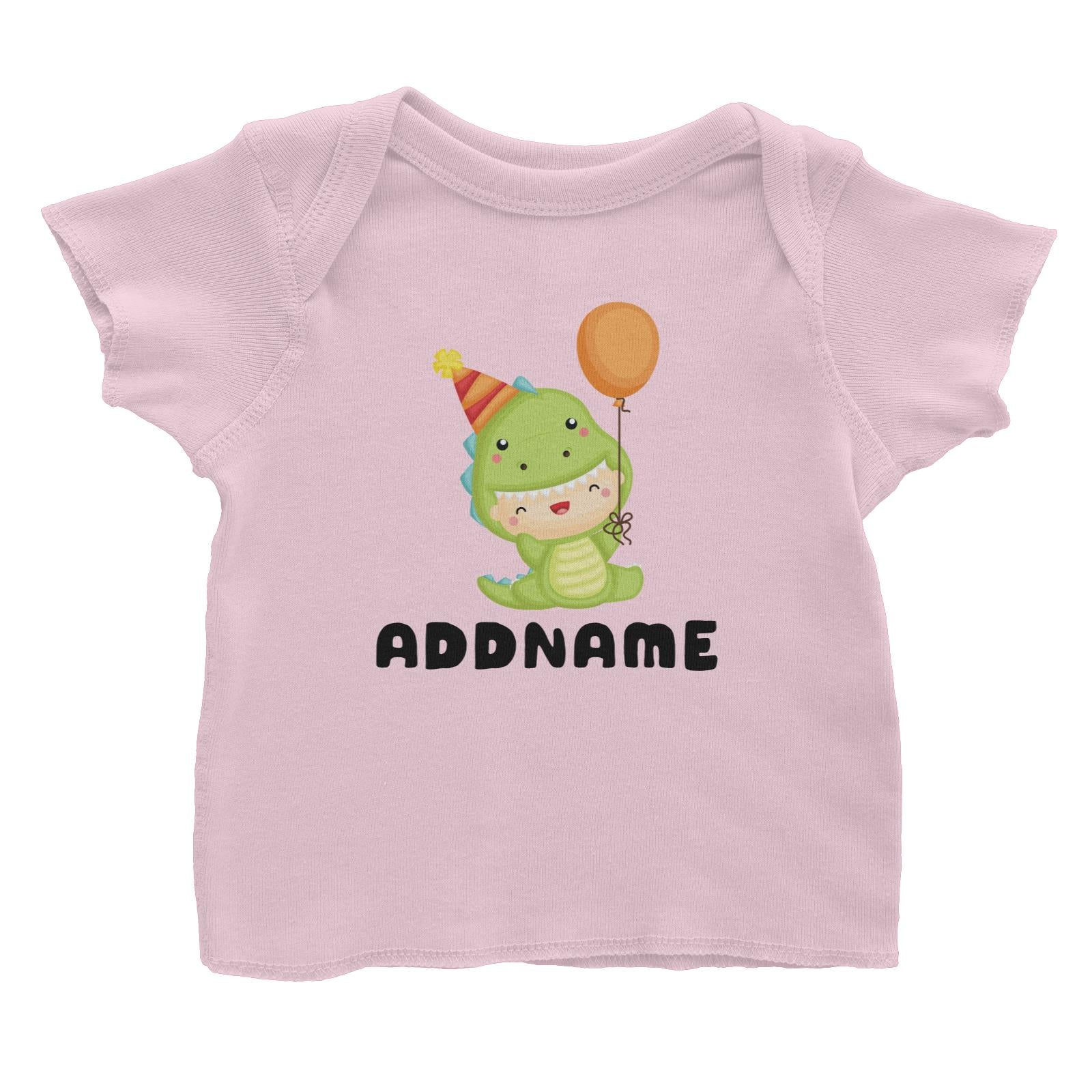 Birthday Dinosaur Happy Baby Wearing Dinosaur Suit And Party Hat Addname Baby T-Shirt