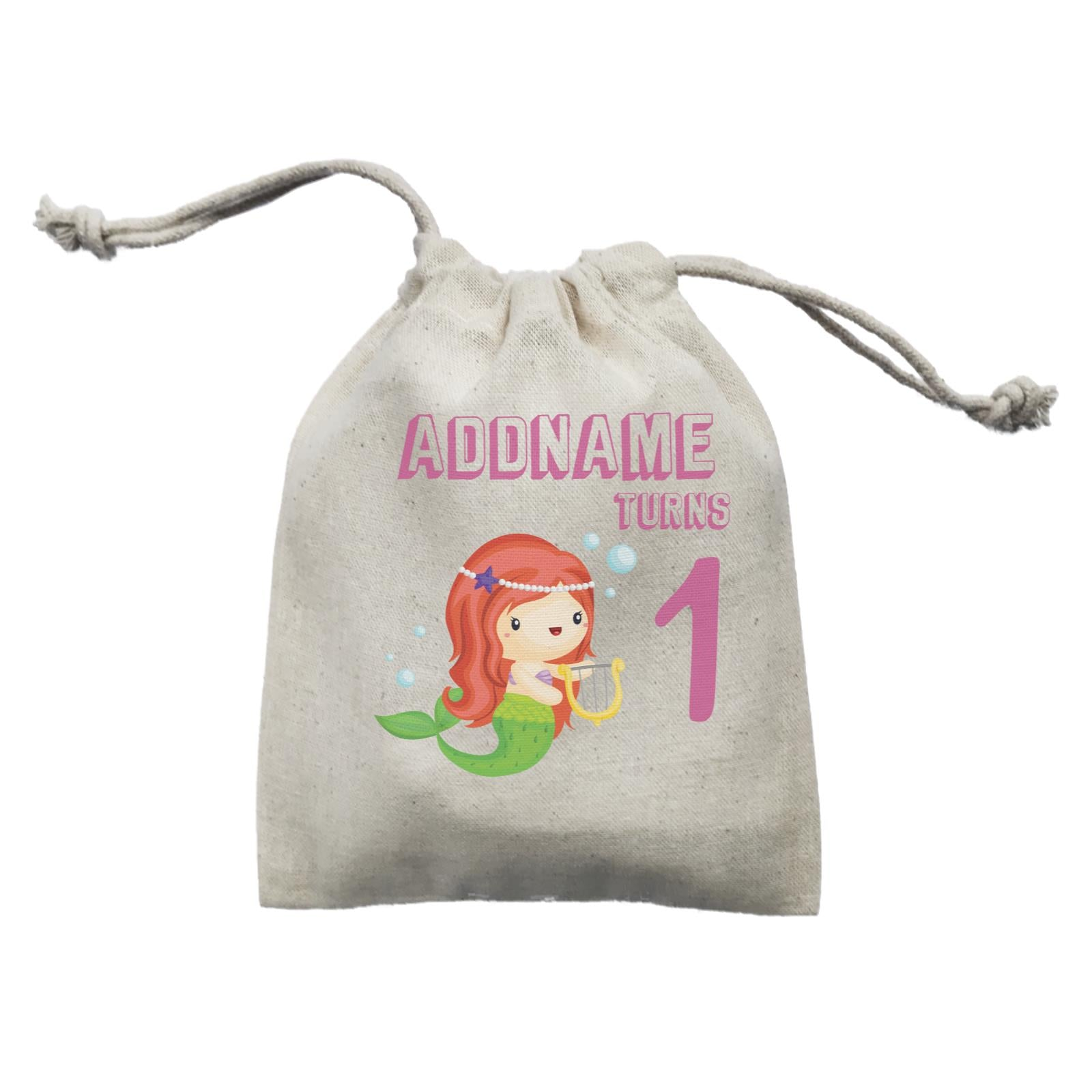 Birthday Mermaid Red Long Hair Mermaid Playing Harp Addname Turns 1 Mini Accessories Mini Pouch