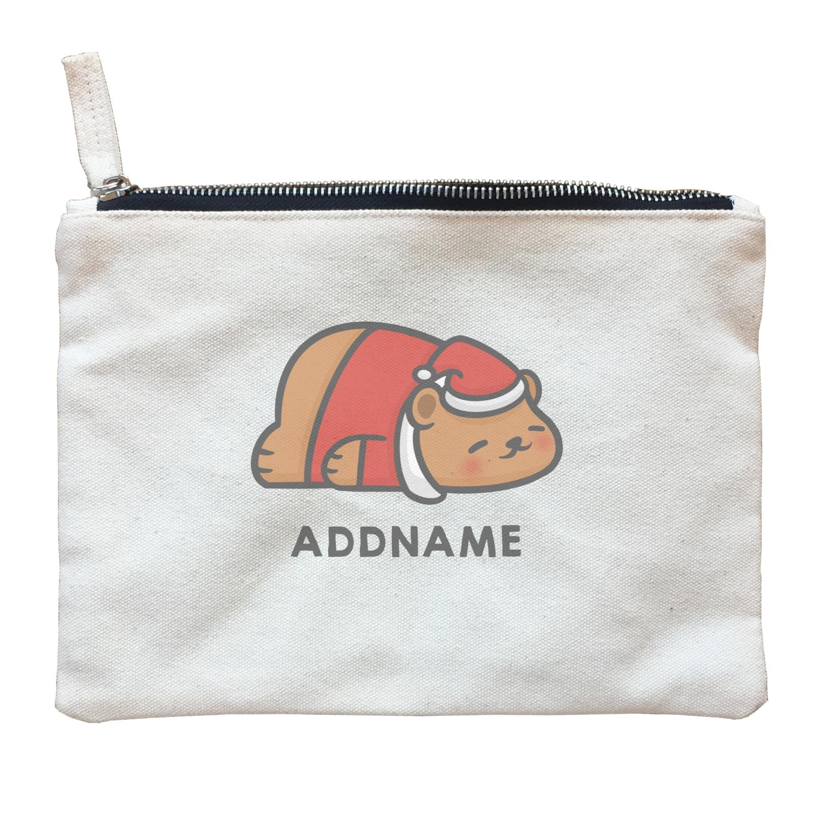 Xmas Cute Sleeping Bear Addname Accessories Zipper Pouch