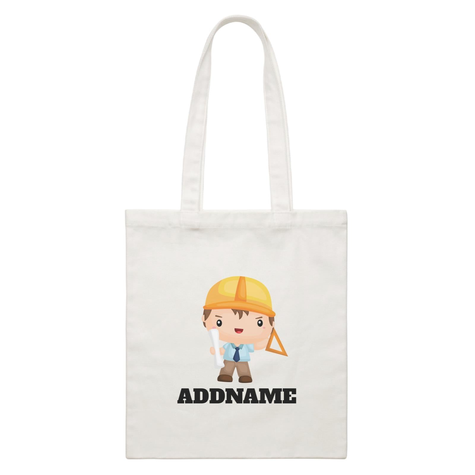 Birthday Construction Architect Boy In Work Addname White Canvas Bag