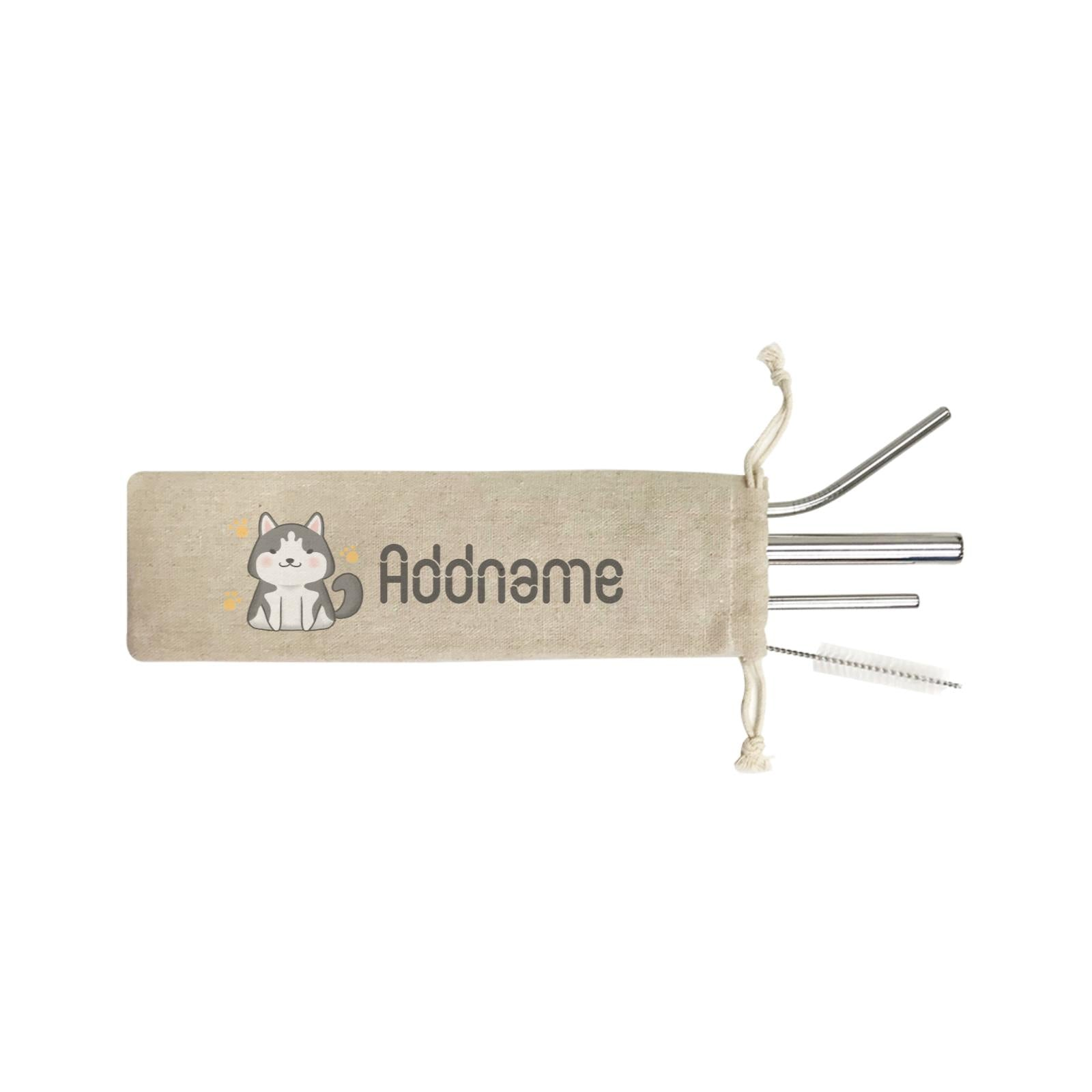Cute Hand Drawn Style Husky Addname ST SZP 4-In-1 Stainless Steel Straw Set in Satchel