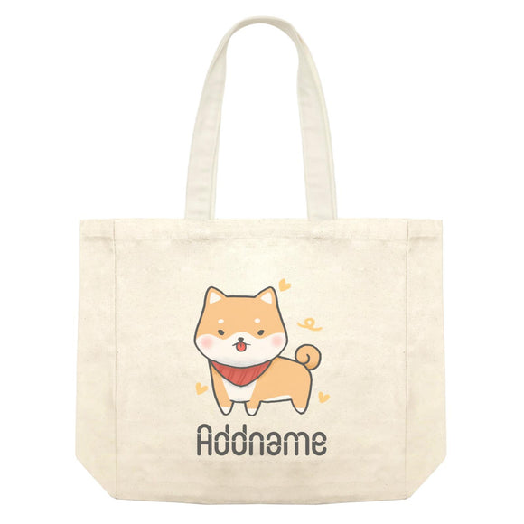 Cute Hand Drawn Style Shiba Inu Addname Shopping Bag