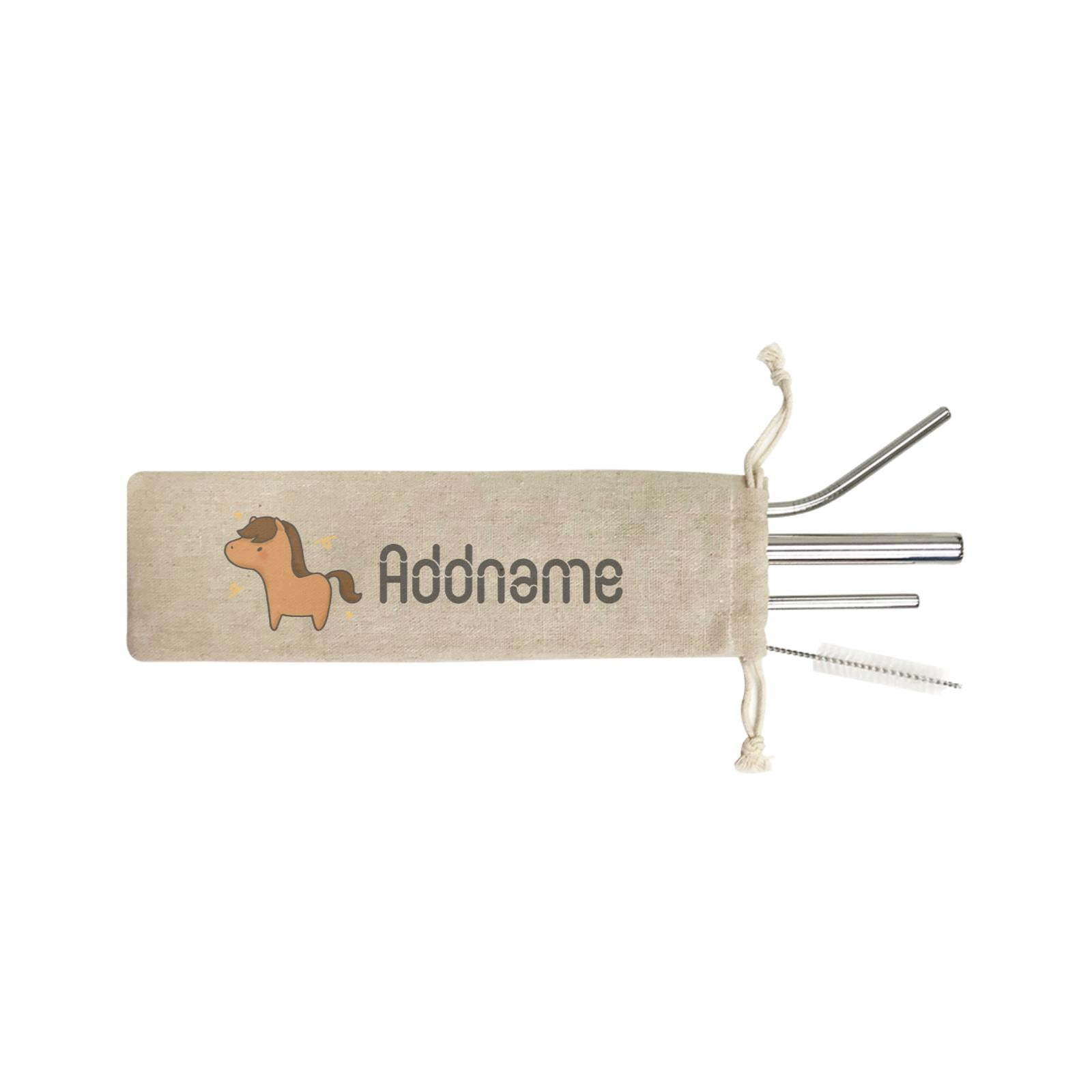 Cute Hand Drawn Style Horse Addname ST 4-In-1 Stainless Steel Straw Set in Satchel