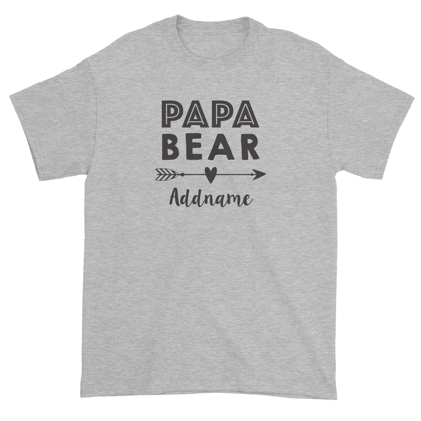 Papa Bear Addname Unisex T-Shirt  Matching Family Personalizable Designs