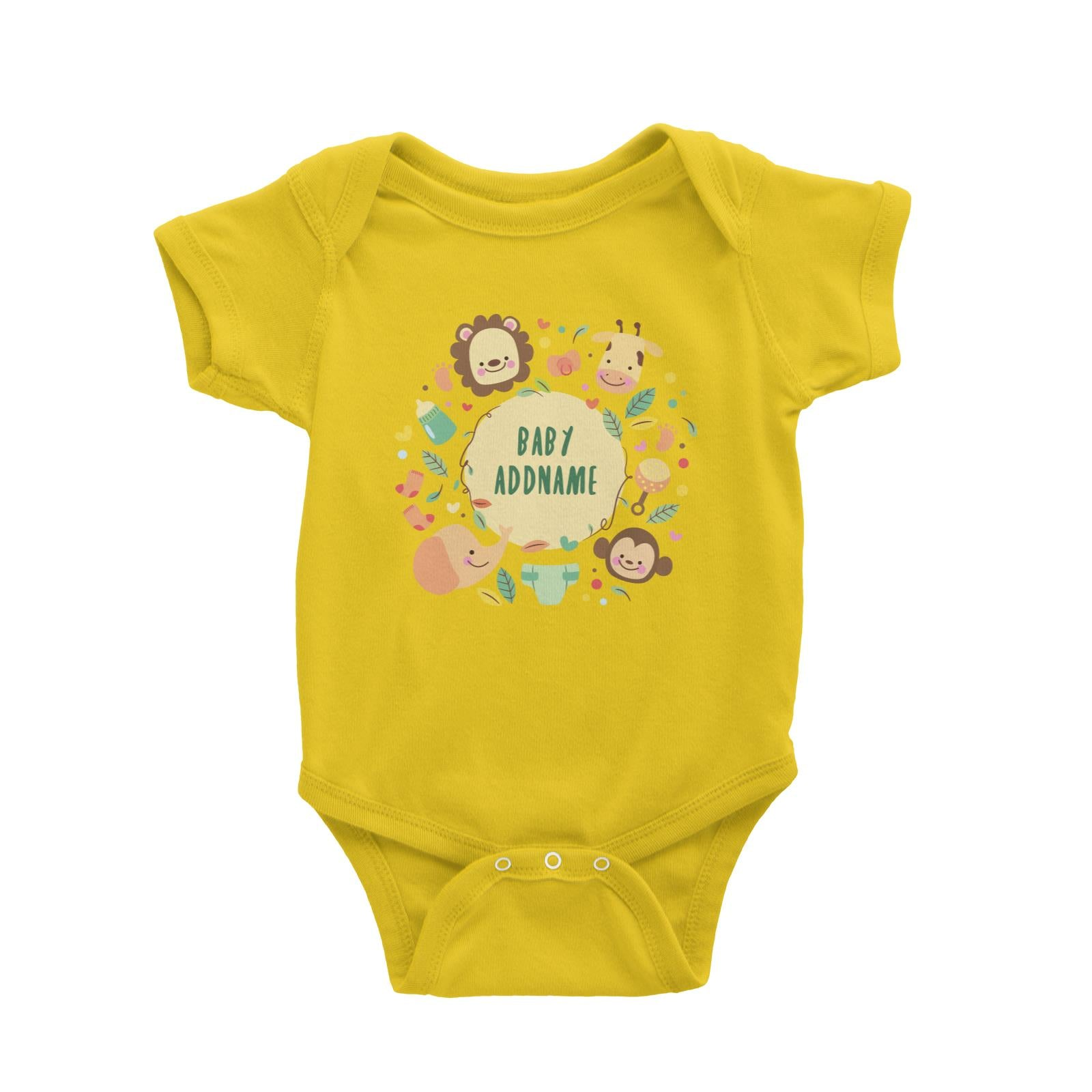 Baby Safari Animals with Addname Baby Romper