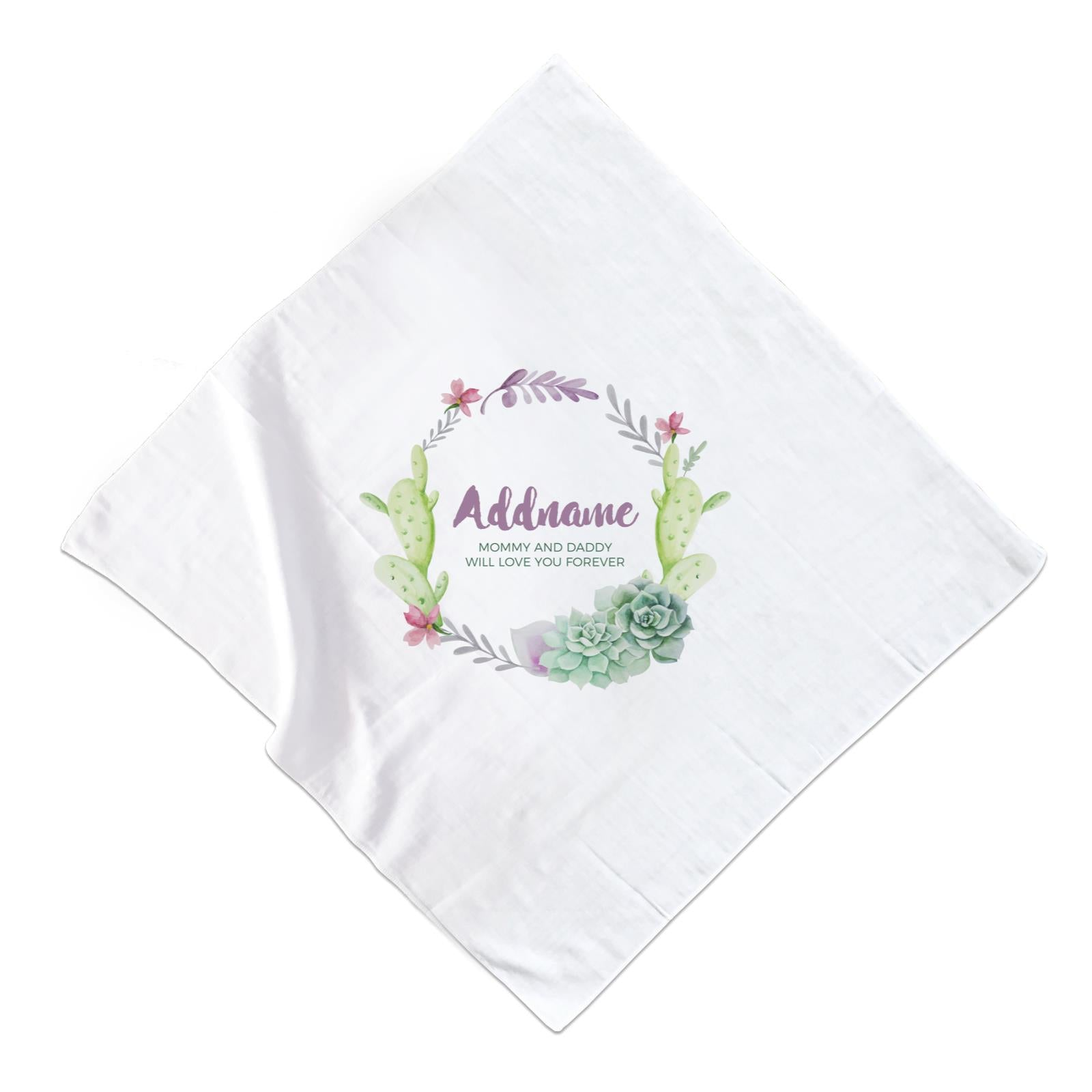 Succulent Wreath Personalizable with Name and Text Muslin Square