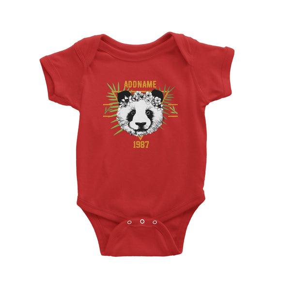 Jersey Panda With Flower Personalizable with Name and Year Baby Romper