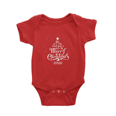 We Wish You A Merry Christmas Greeting Addname Baby Romper  Personalizable Designs Lettering Matching Family