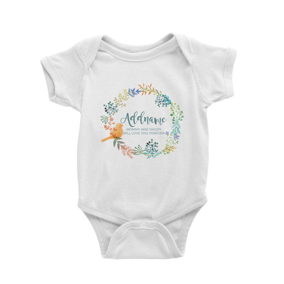 Spring Flower with Bird Wreath Personalizable with Name and Text Baby Romper