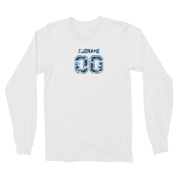 Custom Adults Jersey Blue Camo With Name and Number Long Sleeve Unisex T-Shirt