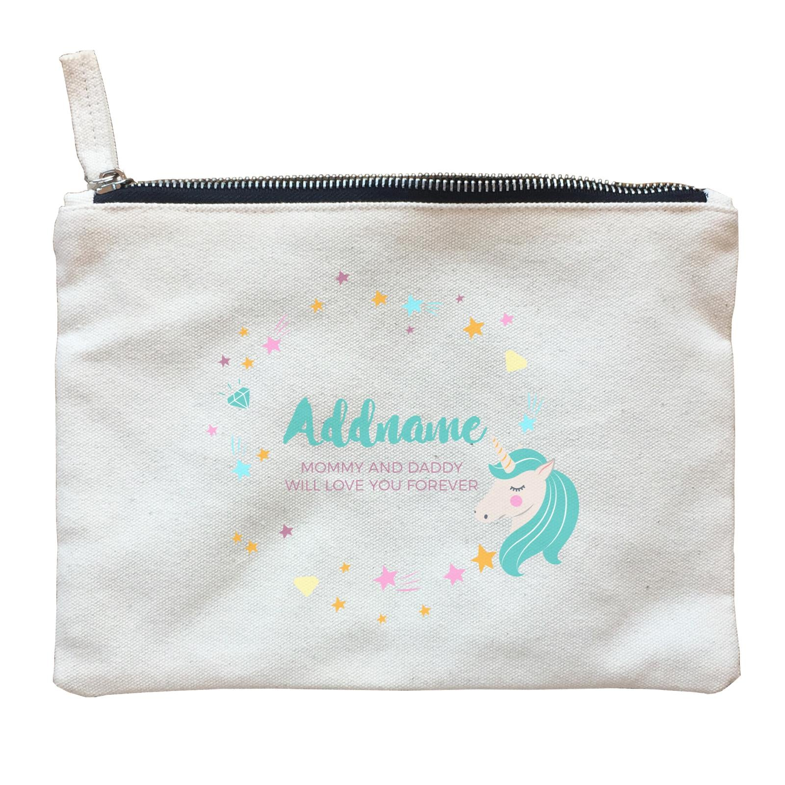 Cute Green Unicorn with Star and Diamond Elements Personalizable with Name and Date Zipper Pouch