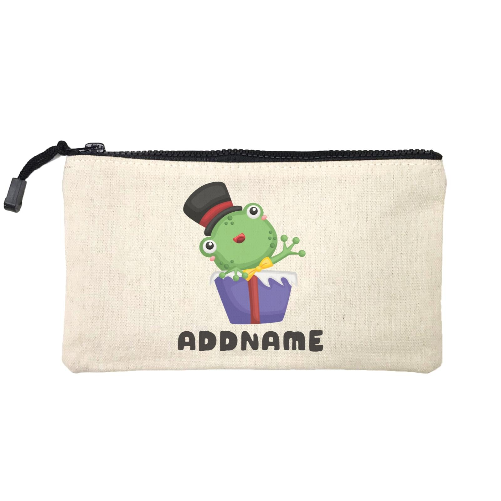 Birthday Frog Frog Wearing Hat Inside Present Box Addname Mini Accessories Stationery Pouch