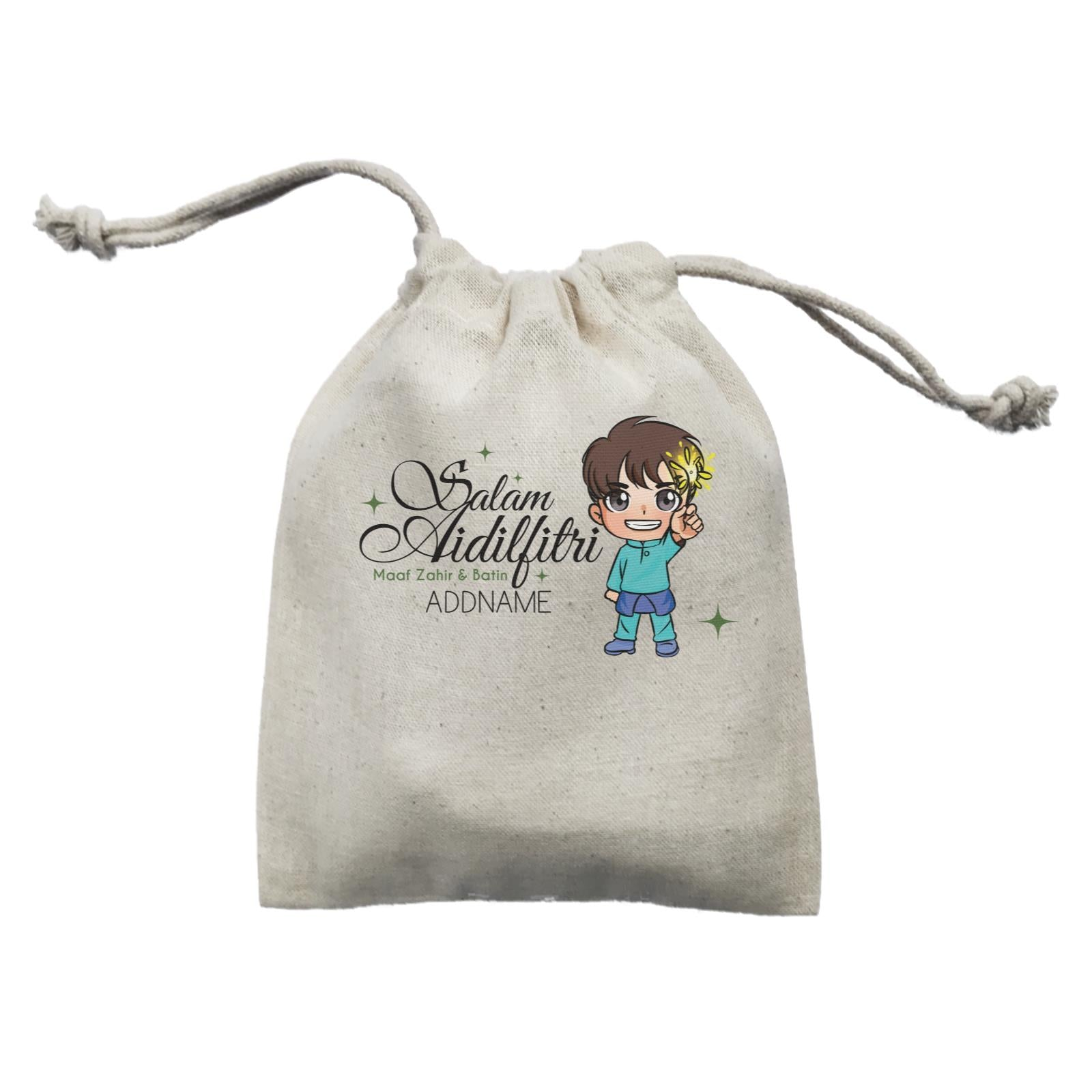 Raya Chibi Wishes Little Boy Addname Wishes Everyone Salam Aidilfitri Maaf Zahir & Batin Mini Accessories Mini Pouch