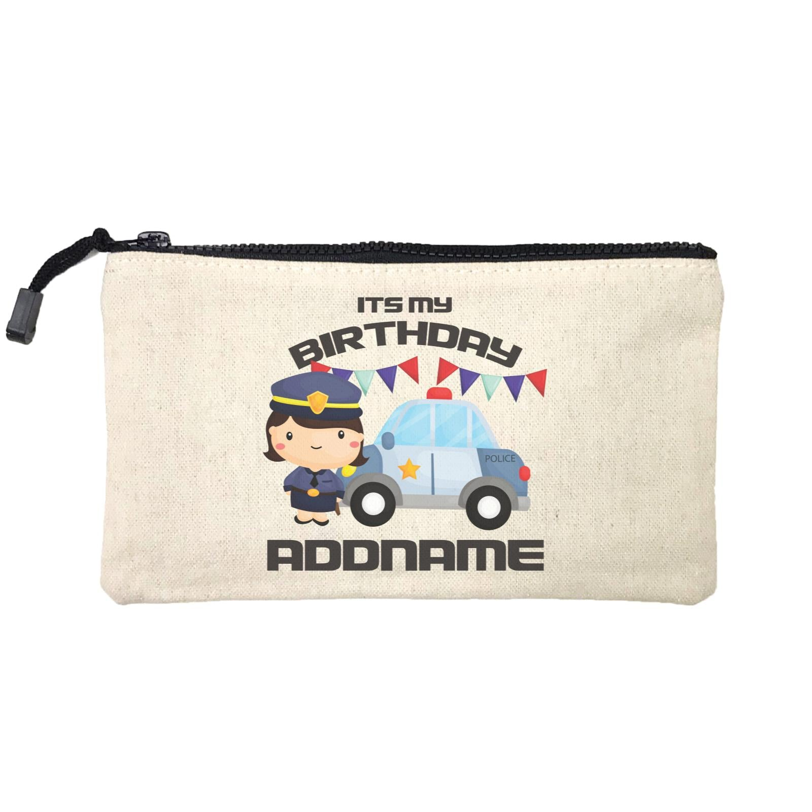 Birthday Police Officer Girl In Suit With Police Car Its My Birthday Addname Mini Accessories Stationery Pouch