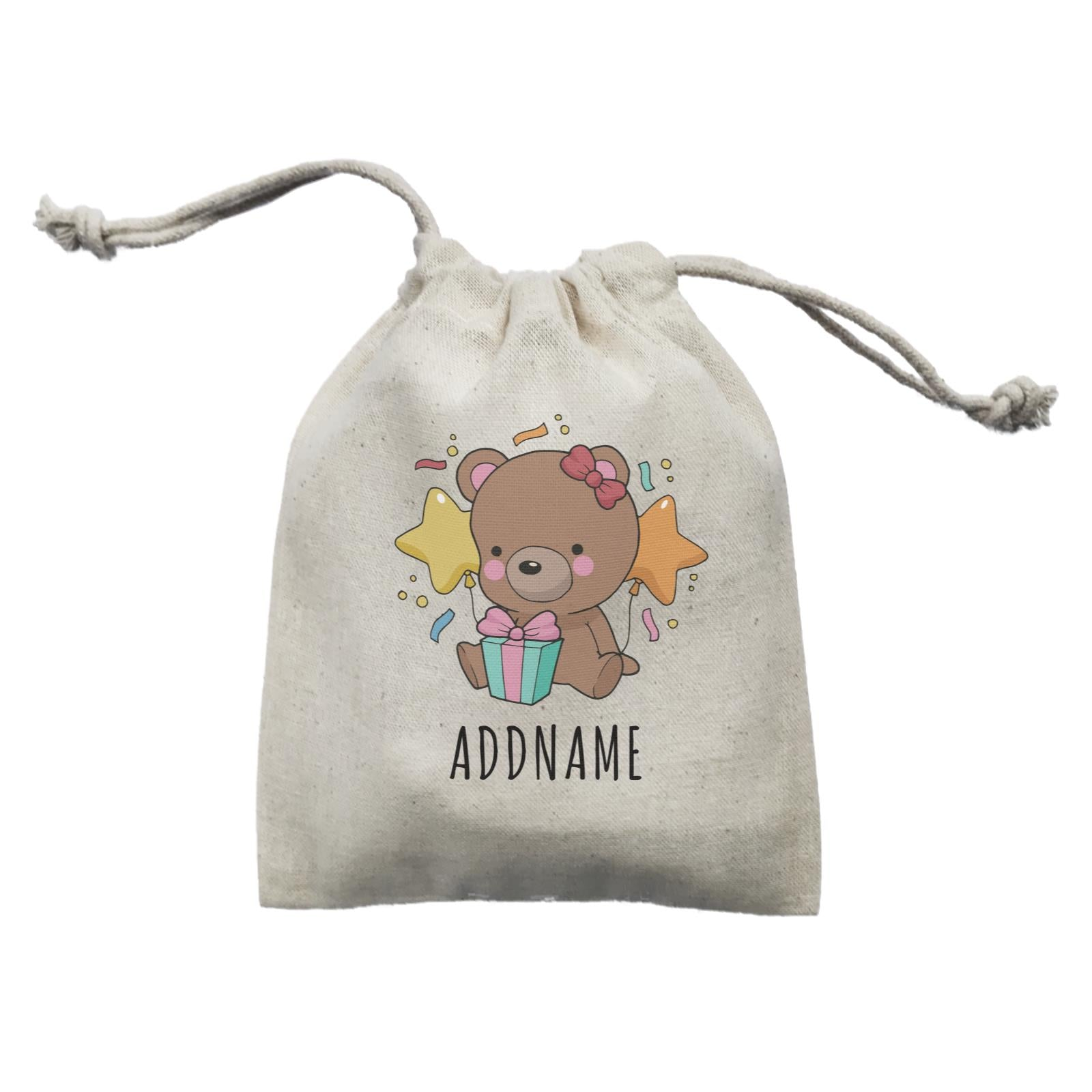 Birthday Sketch Animals Bear with Present Addname Mini Accessories Mini Pouch