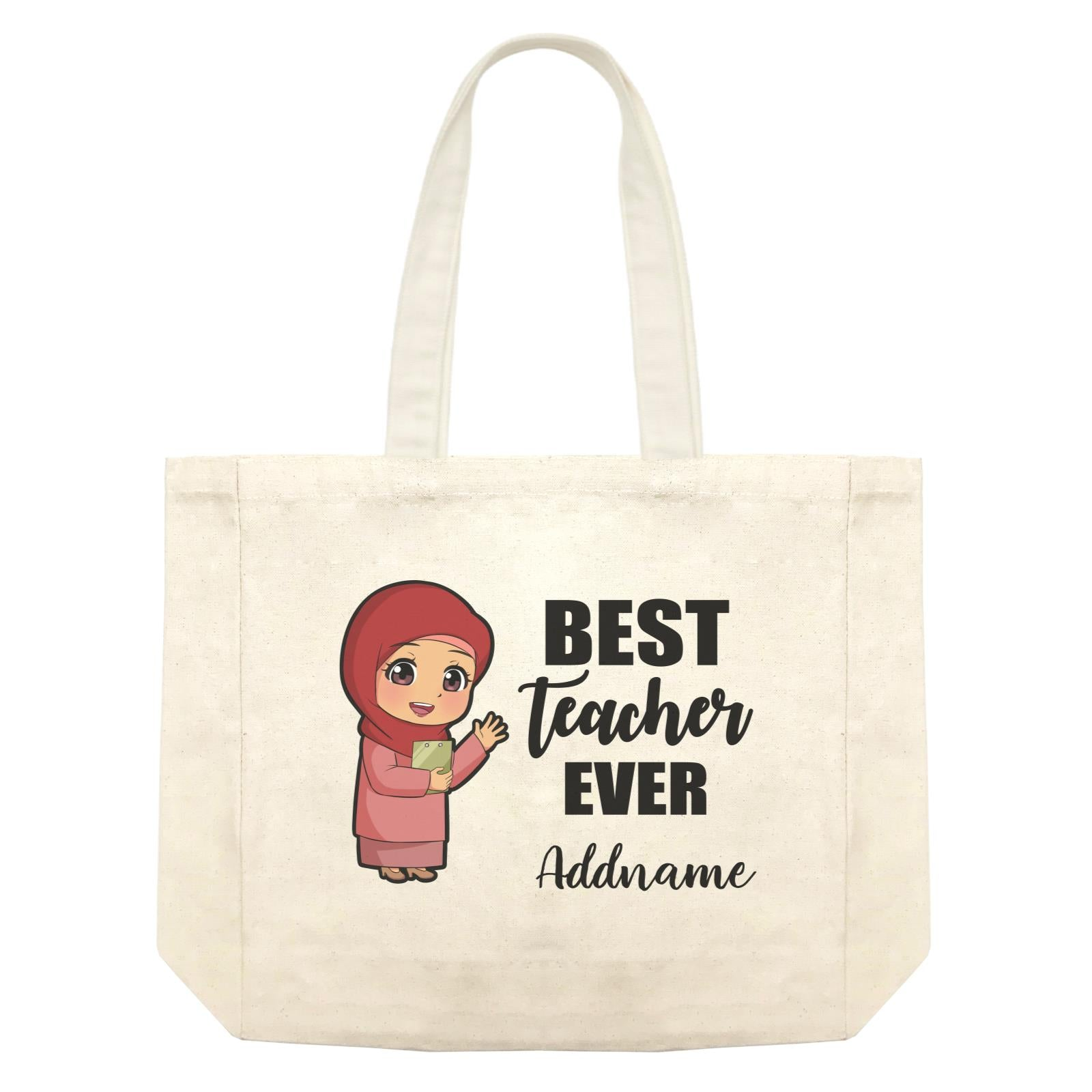 Chibi Teachers Malay Woman Best Teacher Ever Addname Shopping Bag