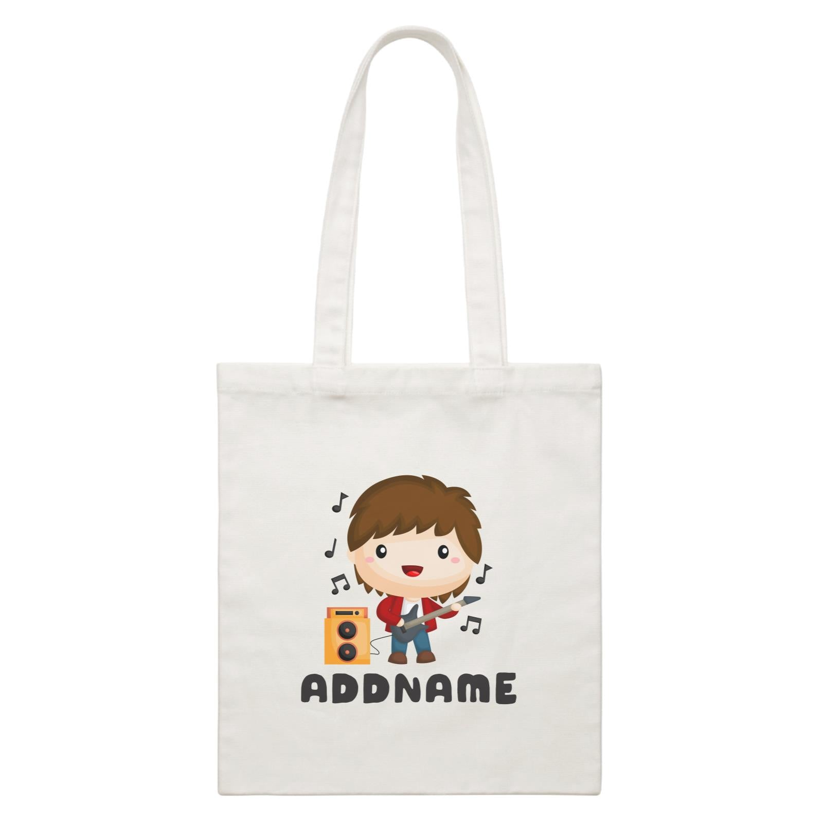 Birthday Music Band Boy Playing Bass Addname White Canvas Bag