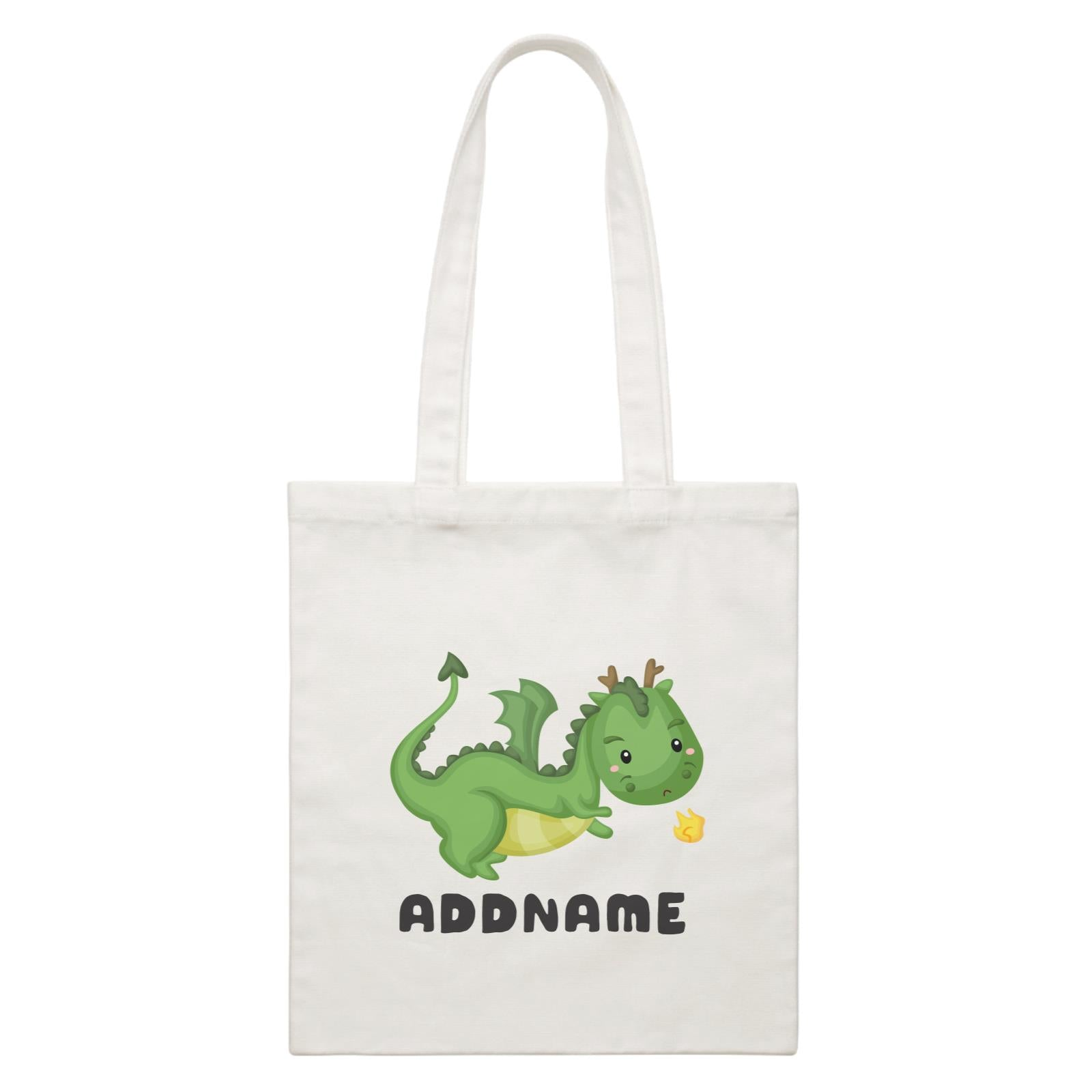 Birthday Royal Dragon Breathing Fire Addname White Canvas Bag