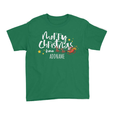 Cute Santa's Sleigh Merry Christmas Greeting Addname Kid's T-Shirt  Personalizable Designs Matching Family