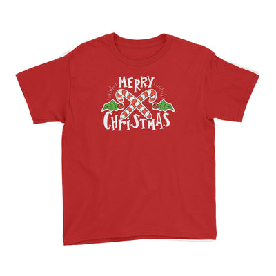 Merry Chrismas with Holly and Candy Cane Greeting Kid's T-Shirt Christmas Matching Family Lettering