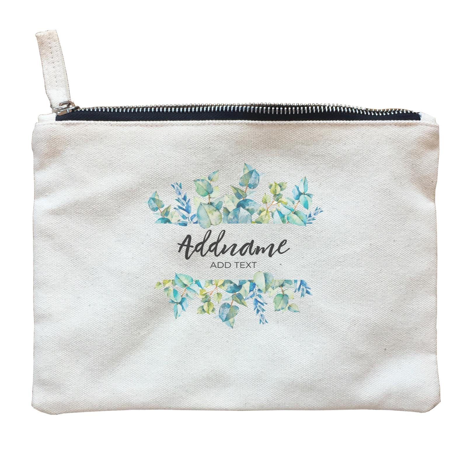 Add Your Own Text Teacher Blue Leaves Box Addname And Add Text Zipper Pouch