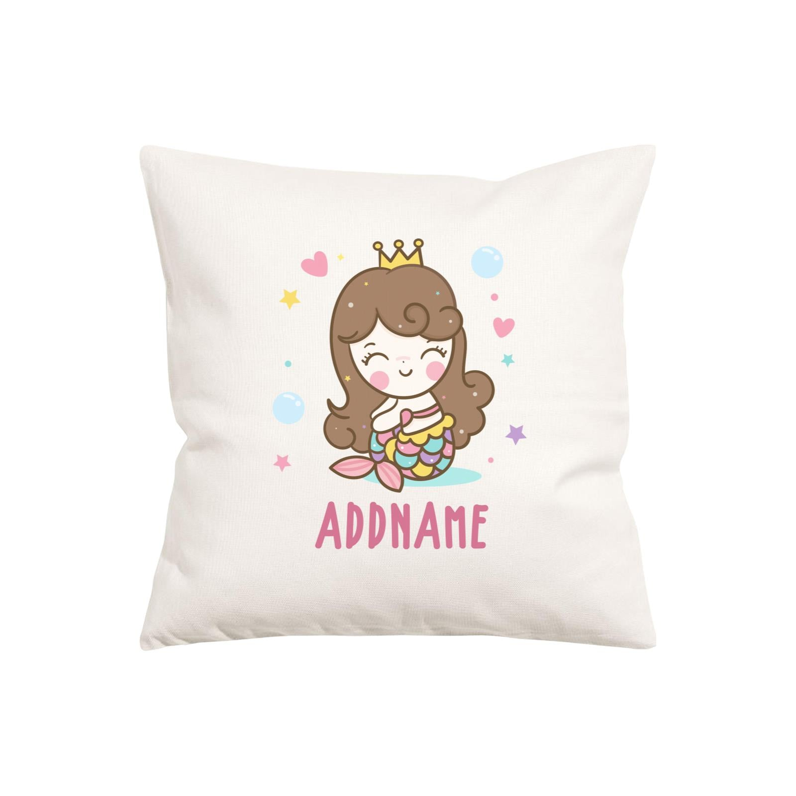 Unicorn And Princess Series Cute Happy Sitting Mermaid Girl Addname Pillow Cushion