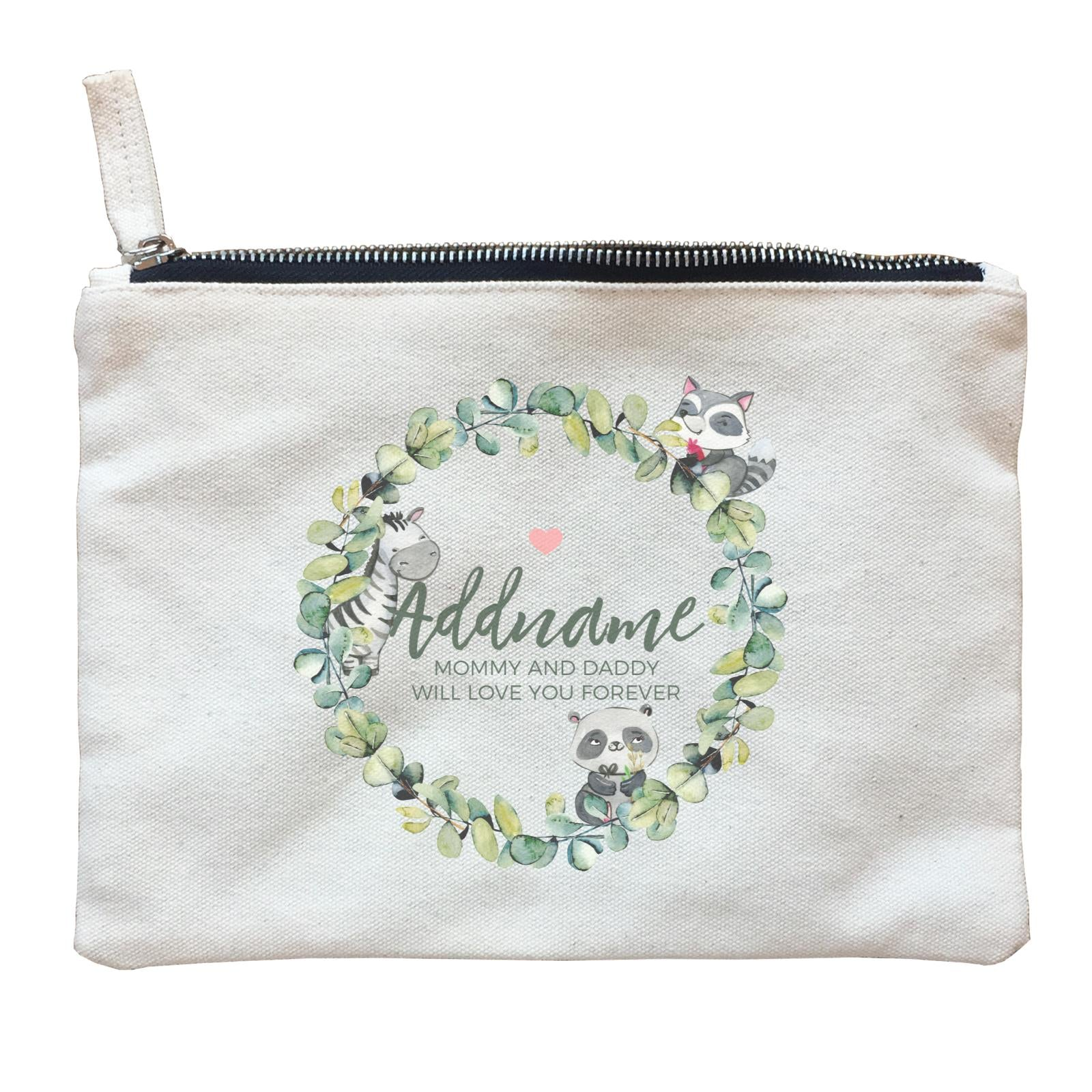 Watercolour Panda Zebra and Racoon Leaf Wreath Personalizable with Name and Text Zipper Pouch