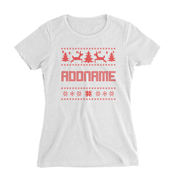 Christmas Sweater Addname Women's Slim Fit T-Shirt  Matching Family Personalizable Designs