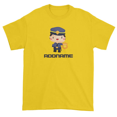 Birthday Police Officer Boy In Suit Addname Unisex T-Shirt