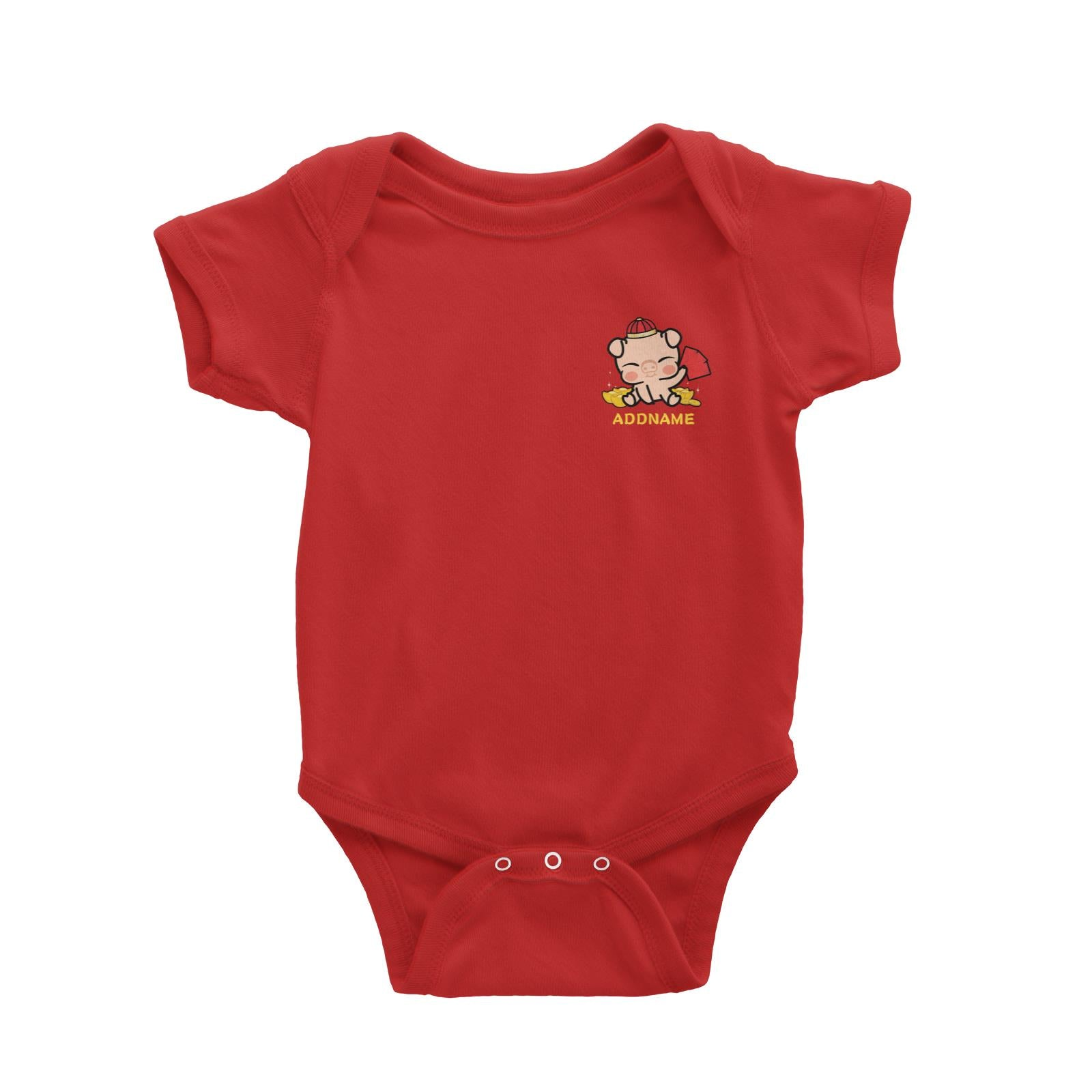 Properity Pig Baby Full Body with Red Packets And Gold Pocket Design Baby Romper