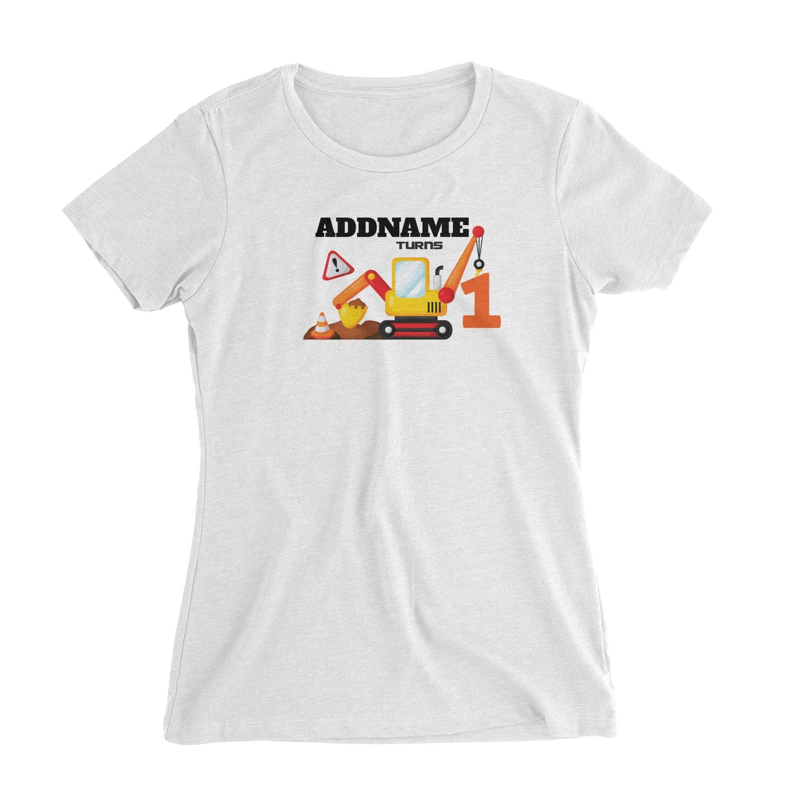 Birthday Construction Excavator Addname Turns 1 Women's Slim Fit T-Shirt