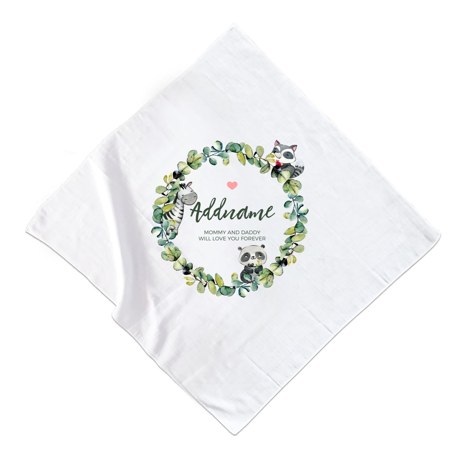 Watercolour Panda Zebra and Racoon Leaf Wreath Personalizable with Name and Text Muslin Square