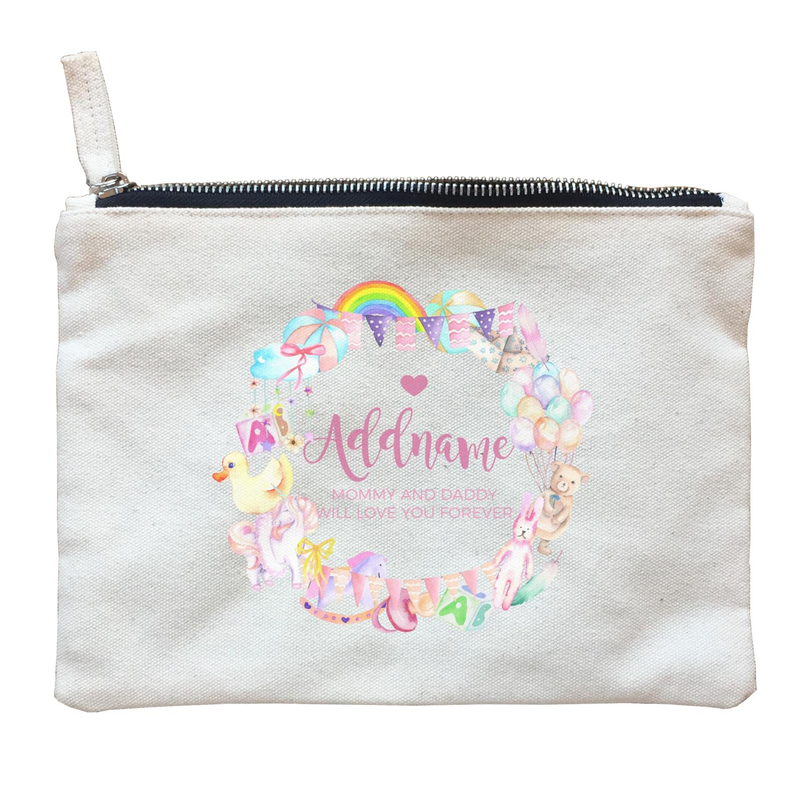 Watercolour Magical Girlish Creatures and Elements Personalizable with Name and Text Zipper Pouch