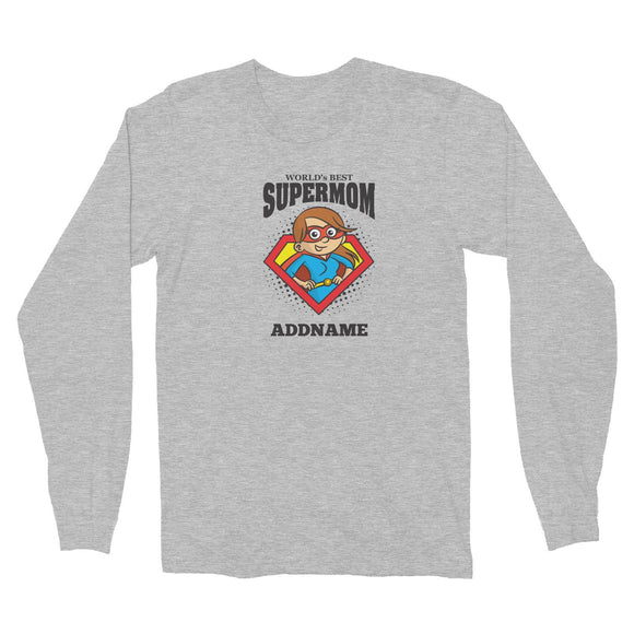 Best Mom Supermom Long Sleeve Unisex T-Shirt Personalizable Designs Matching Family Superhero Family Edition Superhero