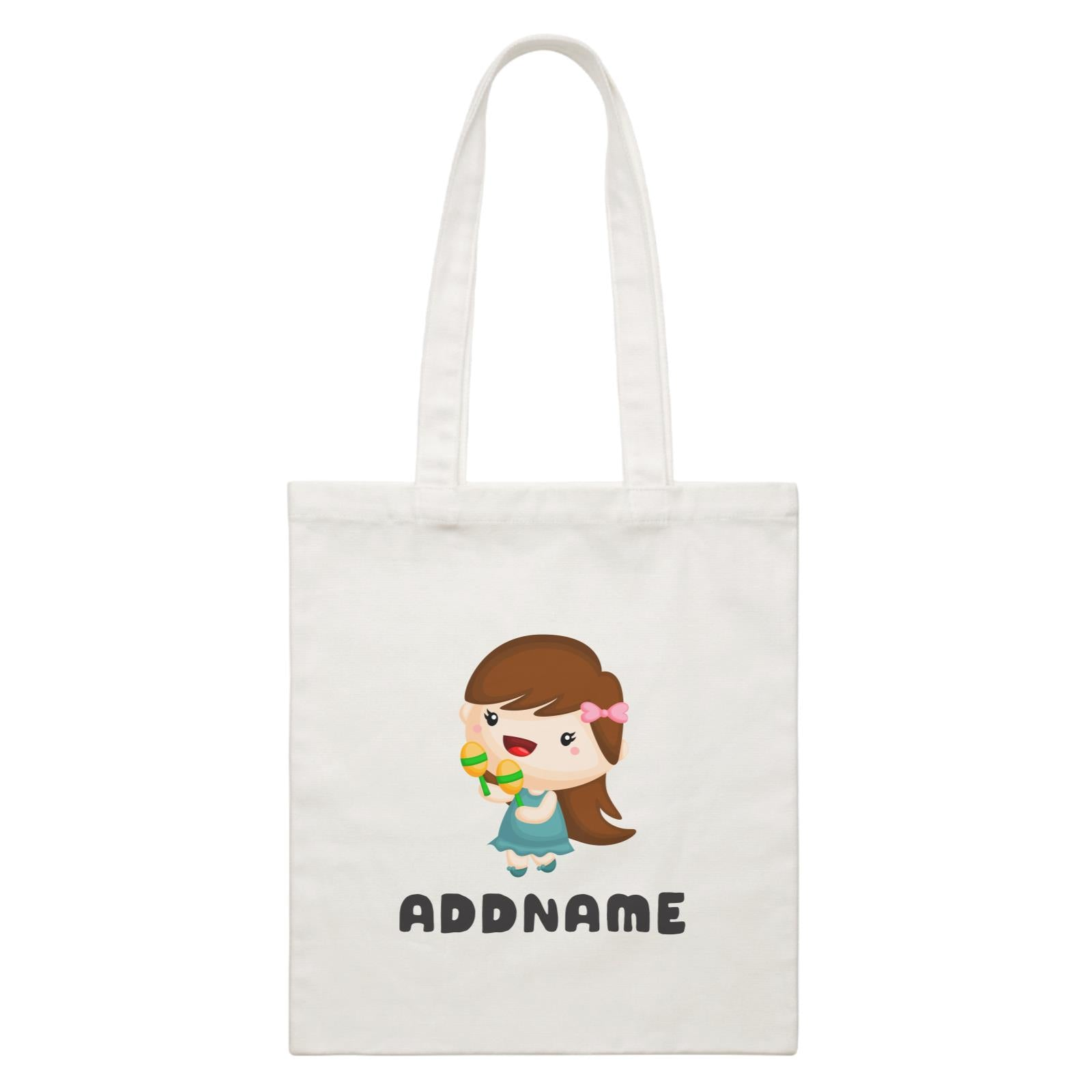 Birthday Music Band Girl Playing Maracas Addname White Canvas Bag