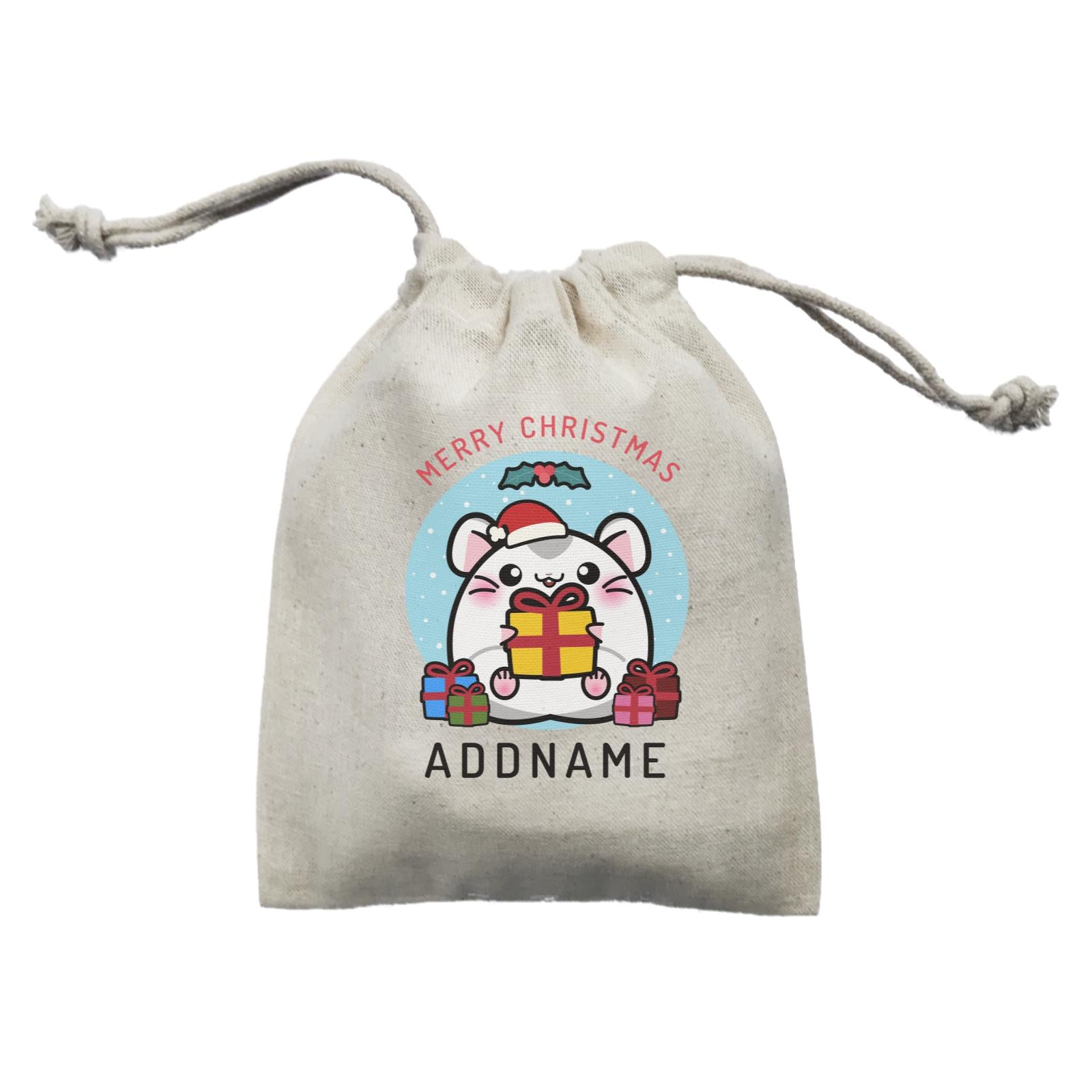 Merry Christmas Cute Santa Boy Hamster with Gifts Mini Accessories Mini Pouch