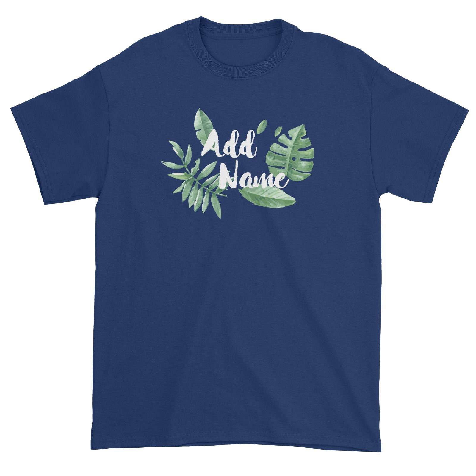 Tropical Leaves Addname Unisex T-Shirt Basic Matching Family