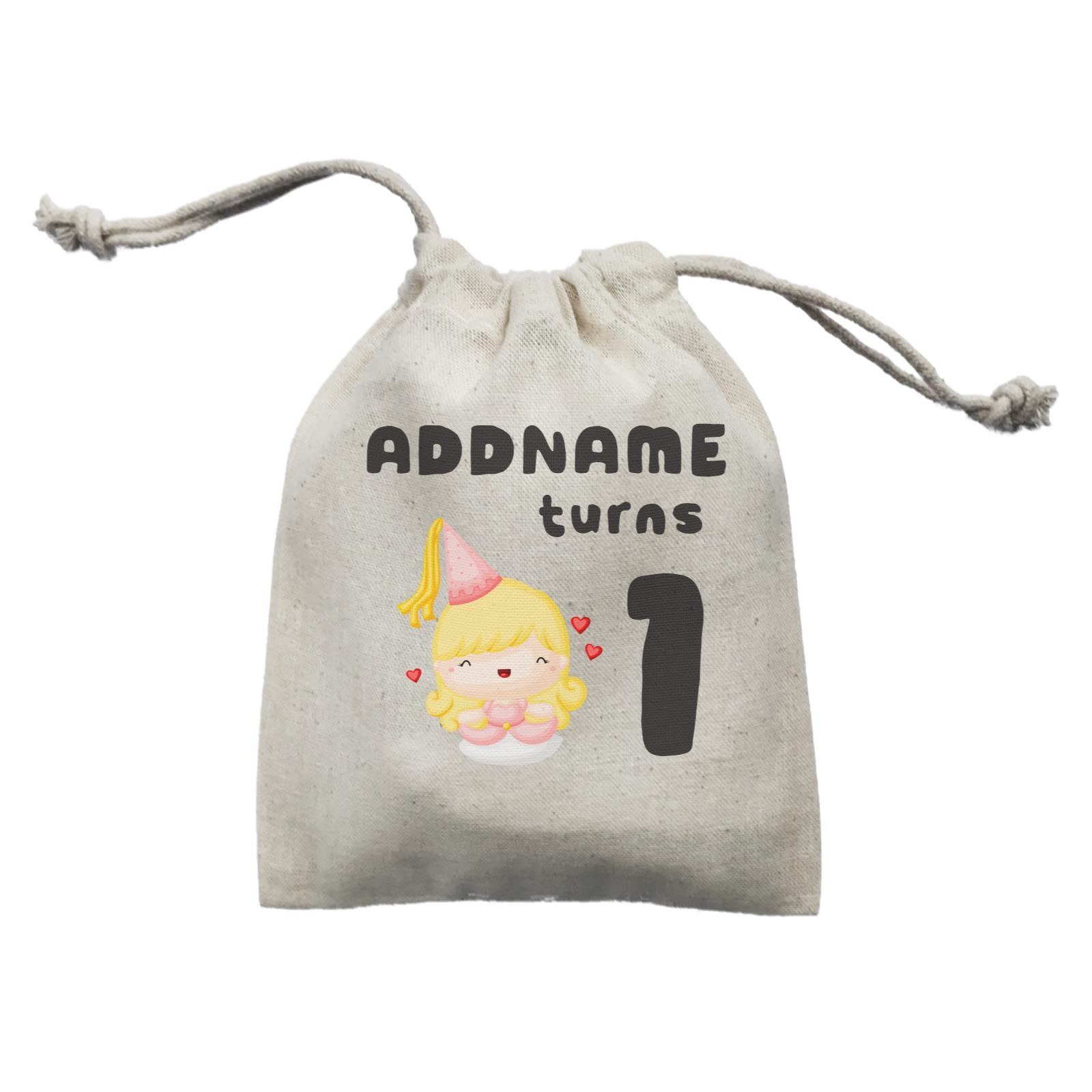 Birthday Royal Princess Girl Addname Turns 1 Mini Accessories Mini Pouch
