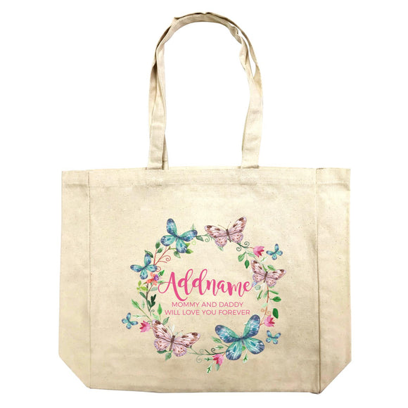 Colourful Butterflies Wreath Personalizable with Name and Text Shopping Bag